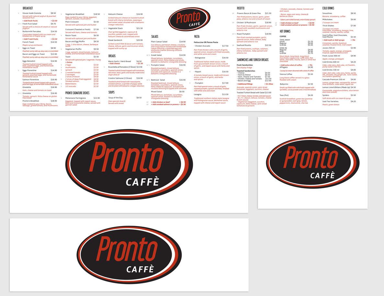 Pronto Caffe Menu Board and Signage